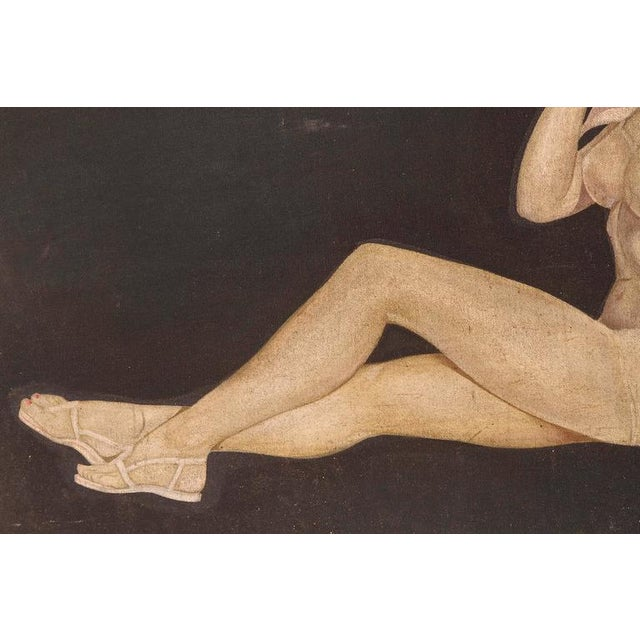 "Large Art Deco ""Trench Art"" Pin-Up Painting, Oil on Heavy Cloth, Signed For Sale - Image 4 of 11"