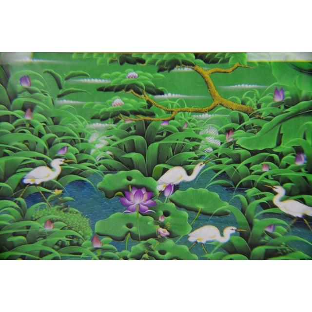 Large Art Deco Textile Art Painting Professionally Framed - Image 3 of 11