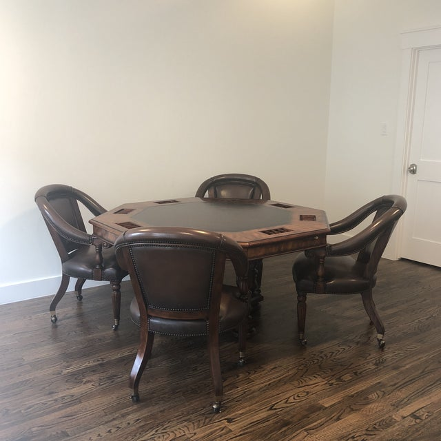 Sherrill Occasional Masterpiece Collection Poker/Game Table and 4 Game Chairs Set For Sale - Image 13 of 13