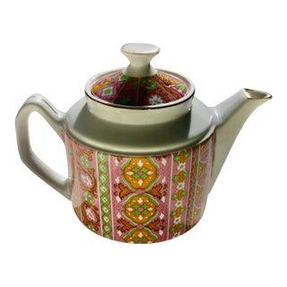 Enesco Japan Pink & Green Porcelain Teapot, 1970's For Sale