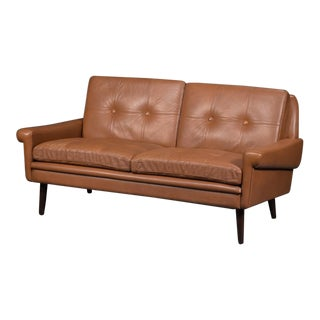 Vintage Mid Century Svend Skipper Danish Brown Leather Loveseat For Sale