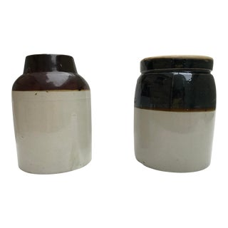 Antique Earthenware Crock Pots Canisters - a Pair For Sale