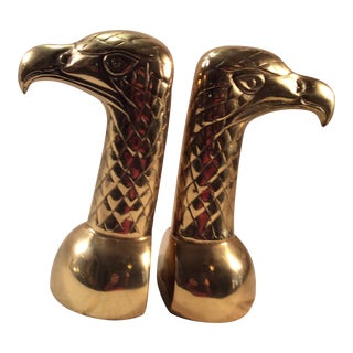 1970s Solid Brass Eagle Head Bookends - a Pair For Sale