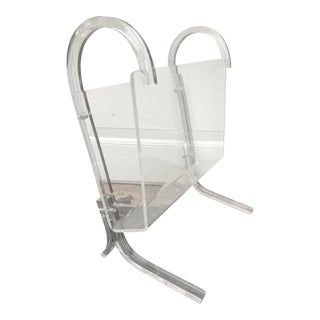 Mid Century Modern Lucite Magazine Rack For Sale