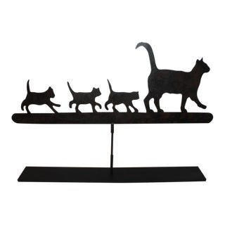 Early 20th Century Original Painted Folky Cats Weathervane For Sale