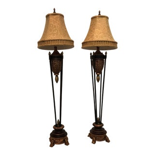 Faux Finished Bronze Lamps with Shades - a Pair For Sale