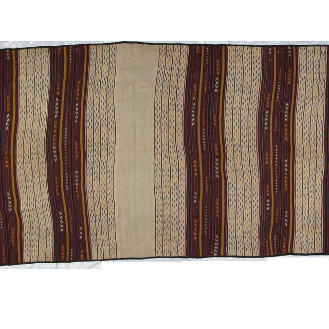 Wool on wool pile very fine hand woven vintage Persian Ghouchan Kilim in mint condition. Beige with reds.