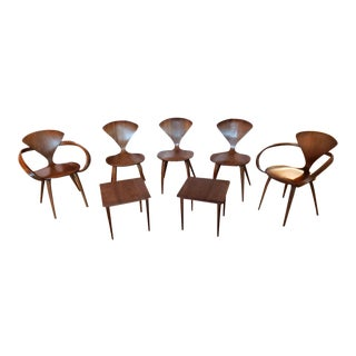 Norman Cherner Dining Chairs & Cocktail Tables - Set of 7 For Sale