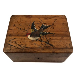 French Olive Wood Souvenir Box From Epinal With Hand-Painted Bird For Sale