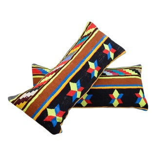 "14"" X 35"" Vintage Turkish Kilim Lumbar Pillow Covers - a Pair For Sale"