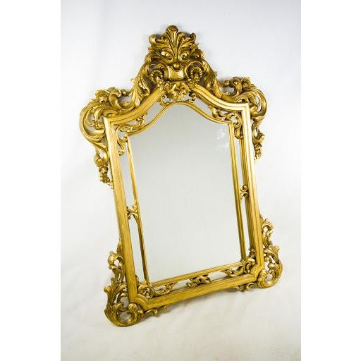 Baroque-Style Carved Wooden Wall Mirror - Image 3 of 9
