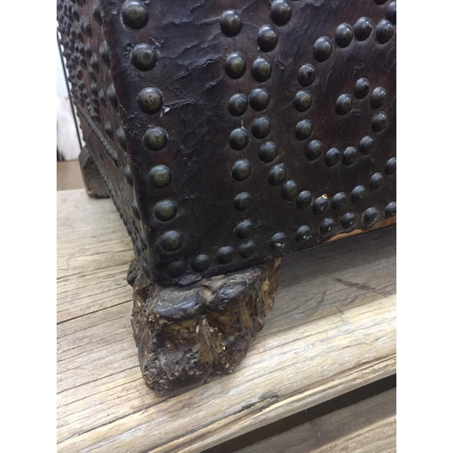 Animal Skin Spanish Leather Trunk For Sale - Image 7 of 11