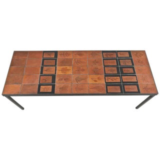 Roger Capron Botanical Tile Table France, circa 1960s For Sale