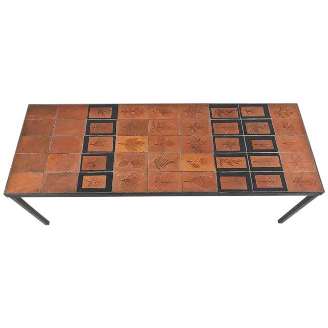 Roger Capron Botanical Tile Table France, circa 1960s For Sale