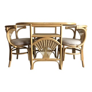 Vintage Mid-Century Modern 1980s Compact Rattan and Wicker Dinette Set. For Sale