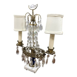 1940s Swedish Brass and Crystal Table Lamp For Sale