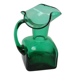 Small Emerald Blown Glass Pitcher by Blenko For Sale