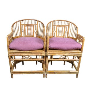Pair of Vintage Brighton Chinoiserie Rattan Bamboo Armchairs