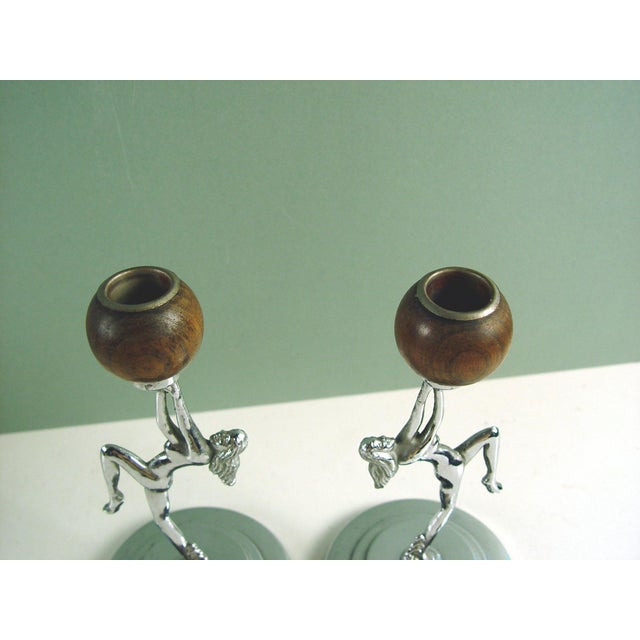 Art Deco Vintage Deco Chrome Nude Candleholders - a Pair For Sale - Image 3 of 4