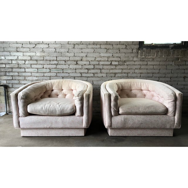Vintage Mid-Century Milo Baughman Style Tufted Barrel Chairs - A Pair For Sale - Image 10 of 10