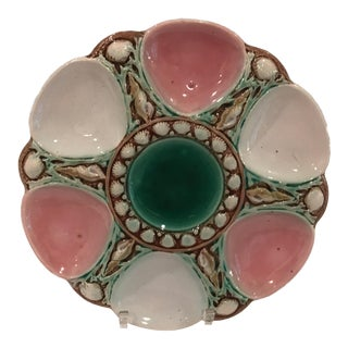 Antique Majolica Pink, Antique White & Green Oyster Plate For Sale