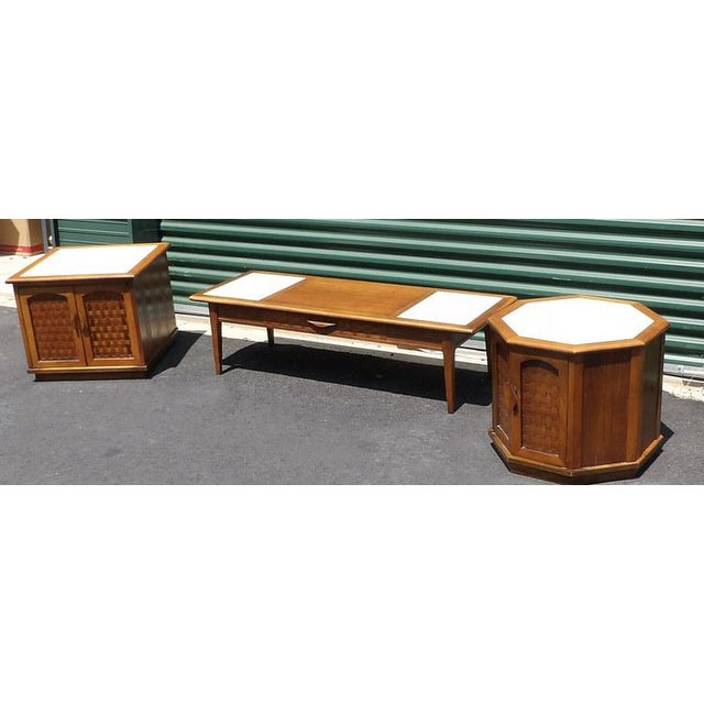 Lane Furniture Lane Maple With Marble Insets Coffee & End Table Living Room Group - 3 Pc. Set For Sale - Image 4 of 11