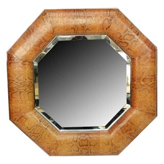 Octagonal Mirror, Style of Karl Springer Snakeskin and Chrome For Sale