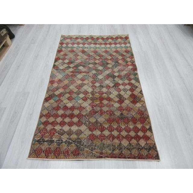 Mid-Century Modern Vintage Turkish Art Deco Hand-Knotted Rug - 3′9″ × 6′7″ For Sale - Image 3 of 6