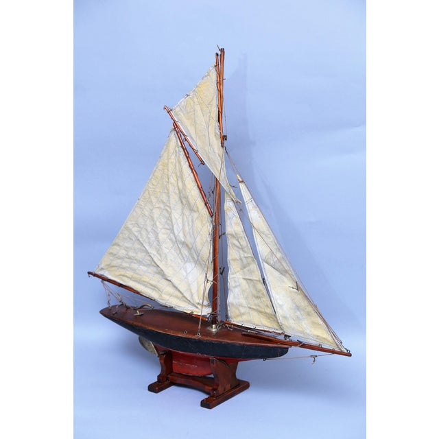 Red 19th-Century English Pond Yacht Schooner For Sale - Image 8 of 8