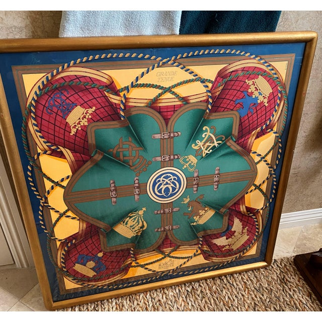 Army Green Professionally Framed Hermes Scarf For Sale - Image 8 of 9