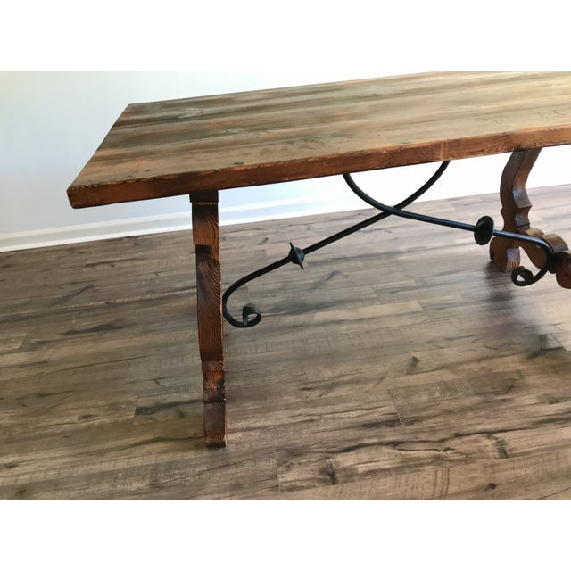 Chestnut 19th Century Spanish Trestle Table or Desk For Sale - Image 8 of 10
