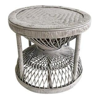 Vintage Round Gray Rattan Ottoman