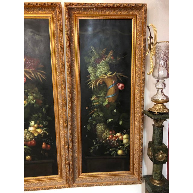 "This Pair of Floral paintings are well done with no signature. Gold framed matching with a ""big"" look."