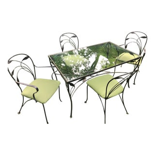 Wrought Iron Patio Furniture-Set of 5 For Sale
