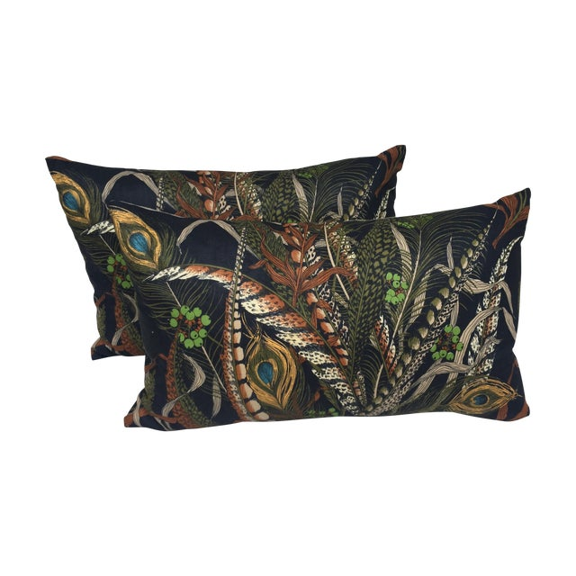 Peacock & Feather Pillows - Pair For Sale