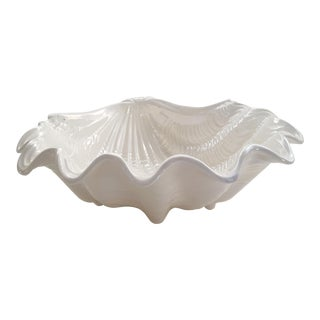 Vintage Pearlescent Lustreware White Clamshell Bowl Cachepot