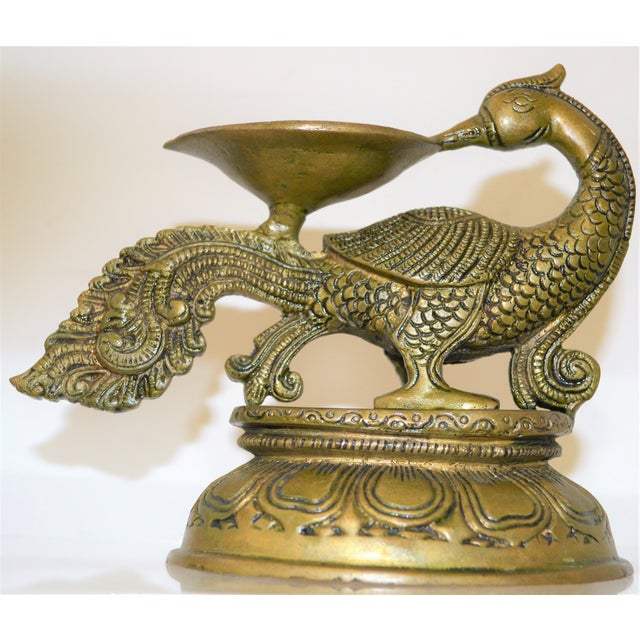 Metal Antique Indian Ceremonial Brass Metal Oil Lamp Bird Form Gold Tone For Sale - Image 7 of 7