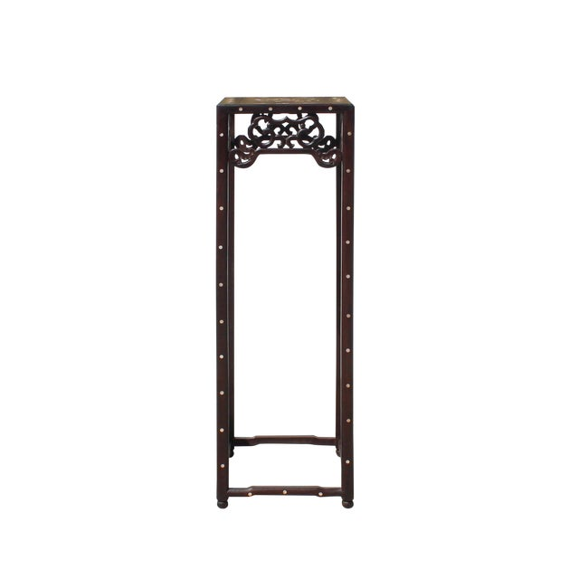 Chinese Huali Dark Brown Square Mother of Pearl Inlay Stand Pedestal Table For Sale