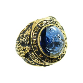 18k & Sterling Wwii Uncas Us Navy Ring, 1940s For Sale