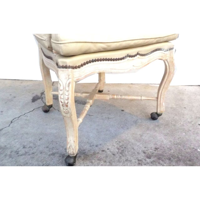 Victorian White Washed Wood Leather Office Chair For Sale - Image 5 of 7