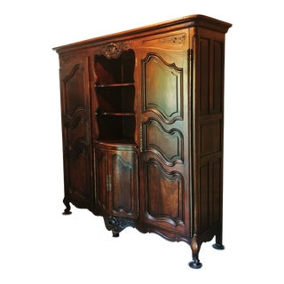 1909 French Carved Fruitwood Wardrobe/Armoire For Sale