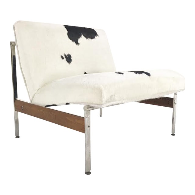 Forsyth One of a Kind Glenn of California Lounge Chair Reupholstered in Brazilian Cowhide For Sale