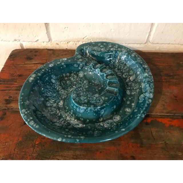 Mid-Century Nautilus Shaped Drip Glaze Teal Ashtray For Sale - Image 9 of 9