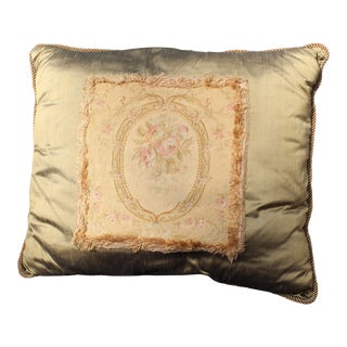 Late 19th Century Antique French Aubusson Pillow For Sale