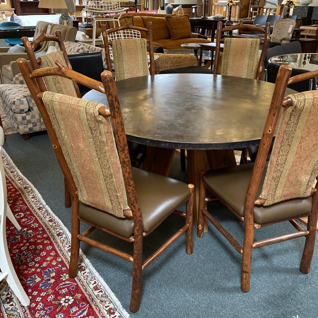Wood Custom Round Cement + Teak Dining Table + Six Hickory Wood Chairs- a Set For Sale - Image 7 of 13