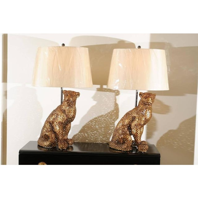 Astonishing Pair of Welded Steel Panthers as Custom Lamps For Sale - Image 10 of 11