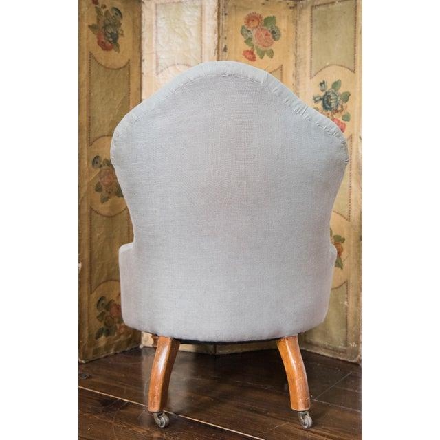 19th Century English Nursing or Fireside Slipper Chair, Belgian Linen For Sale - Image 4 of 5