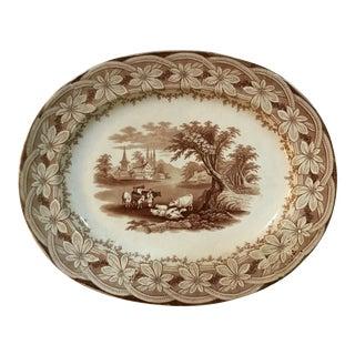 Antique English Brown Transferware Platter