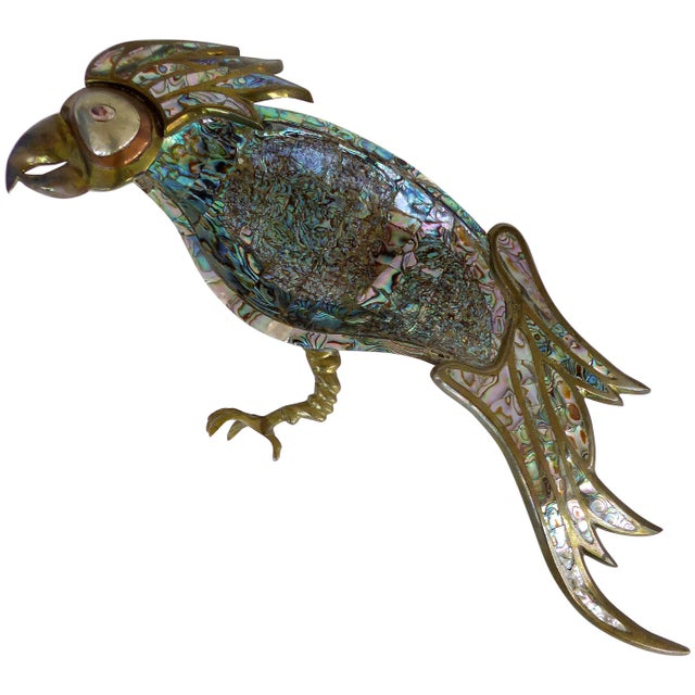 Los Castillo Mexican Mid-Century Modern Mixed Metal and Abalone Parrot Tray For Sale - Image 13 of 13