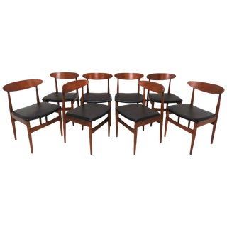 Set of Eight Classic Danish Teak Dining Chairs, Circa 1950s For Sale